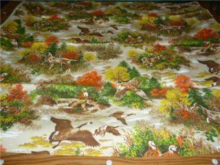Hunting Fishing Theme Dogs Geese Deer River Cabin Lodge 45 x 45