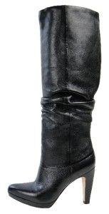 Joan David Womens Bathanne Leather Knee Boots 7 5 M Black