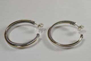 David Yurman 18KY Gold Sterling Silver Extra Large 3mm Crossover Hoop