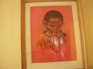David K John Pastel Painting of Navajo Girl Signed Bottom Right 11w x