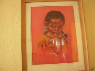 David K John Pastel Painting of Navajo Girl Signed Bottom Right 11w x