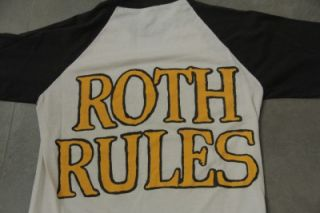 Vintage 1986 DAVID LEE ROTH   ROTH RULES Tour 3/4 T Shirt Small