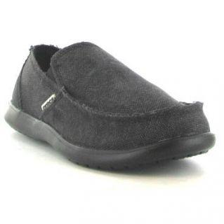 Crocs Genuine Santa Cruz Mens Canvas Slip on Shoes Black Sizes UK 7 13