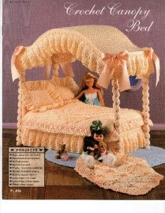 CROCHET CANOPY BED Spread Afghan ++ Fashion Doll Collector Furniture
