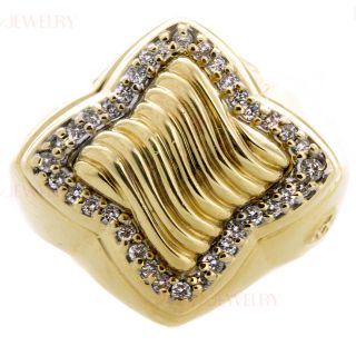 David Yurman 18K Yellow Gold Pave Diamond Ring
