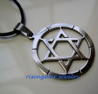 Star of David Stainless Steel Pendant with Leather Cord Necklace 1 12