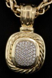 Rare David Yurman 18k Gold 6mm Wheat Chain Necklace w/ Albion Enhancer