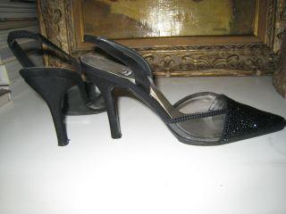 Weitzman black high heel shoes sati silk n Daniel Swarovsky chrystal 6