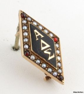 Antique Alpha Delta Sigma Fraternity Badge 14k Yellow Gold Pearls