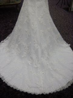 Sz 8 10 DaVinci Ivory Embroidery Lace Bead Mermaid Wedding Dress $1025