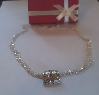 Avon Day to Night After 5 Necklace Silver Tone 18 Chain Faux Diamond