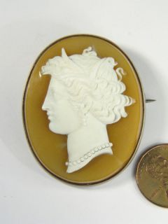 Antique Silver Carved Hardstone Cameo Pin Brooch Demeter C1880