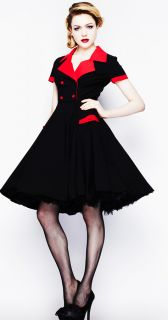 Hell Bunny 50s Swing Love Day Dress Pinup Rockabilly Red Black