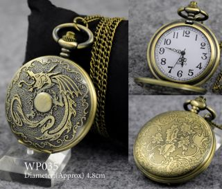Vintage Bronze Retro Pocket Watch Quartz Clock Necklace Steampunk Men