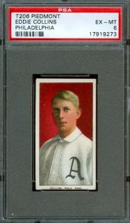 1909 11 T206 Eddie Collins RC PSA 6 Philadelphia Athletics HOF Rookie