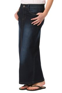 Long Denim Skirt Indigo Womens Blue Full Length SKIRT45
