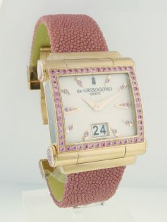 De Grisogono Model Grande S08 Watch 18K Rose Gold with Pink Sapphires