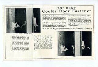 DENT Cooler Door Fastener Brochure 1930s Wooden Ice Box Lock