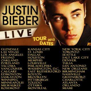 Justin Bieber Believe Live Tour Dates 2012 Two Side Black Shirt s M L