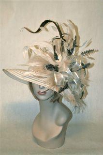 Hat Kentucky Derby Hat Ivory Off White Black Feather Wide Brim Hat