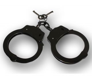 PLATED DOUBLE LOCK POLICE HAND CUFFS W/ KEYS Security Law Enforcement