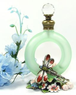 Enamel Dragonfly And Floral Designer Glass Fragrance Perfume Bottle