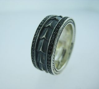DAVID DAVID YURMAN ARMORY RING STERLING SILVER PAVE BLACK DIAMOND 8MM