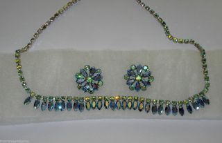 Rhinestone Cleopatra Style Necklace Matching Earings B David