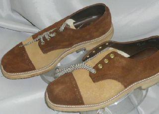 Vtg 50s 70s Disco Mod Mens 2 Tone Brown Tan Leather Saddles Shoes New