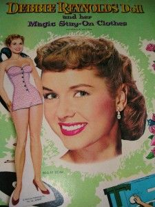 1958 DEBBIE REYNOLDS PAPER DOLL & MAGIC STAY ON CLOTHES WHITMAN #1980