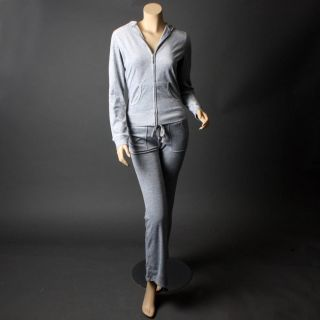 Gray Long Sleeve Velour Designer Woman Tracksuit Hoodie Jacket Pants