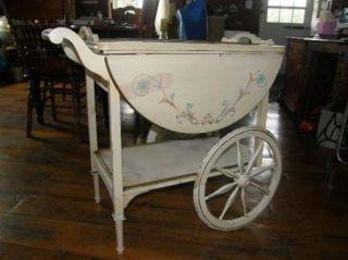 RARE French Tole Painted Tea Cart Mid Century Yet Shabby Chic or