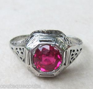 ANTIQUE ART DECO 18K WHITE GOLD 1 25 CARAT OLD EUROPEAN CUT RUBY RING