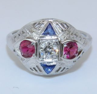Antique Art Deco 18K White Gold Diamond Ruby Sapphire Filigree Ring
