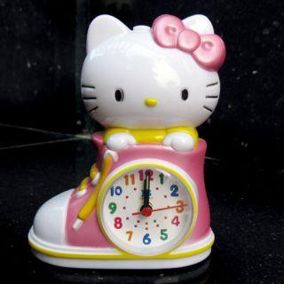 Pink Hello Kitty Children Desktop Alarm Music Clock L1