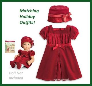 NEW American Girl Bitty Sweet Scarlet Holiday Dress Hat Doll Girl Size