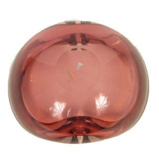 Italian Art Glass Bowl Large Ashtray Dish Red Clear Decorative