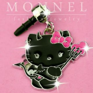 IP273 Black Devil Hello Kitty Anti Dust Plug Cover Charm for iPhone 4