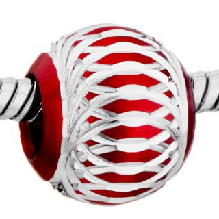 Pugster® Bead Deep Red with Aluminum Silver Plated Style Charm for