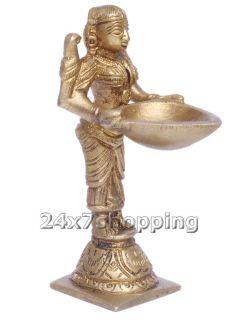Brass India Lady Figurin Holding Deepak Diya Temple Worship Puja Pooja