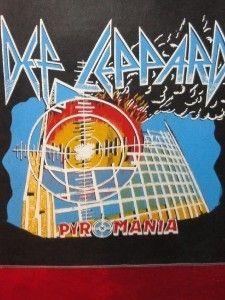 Def Leppard Pyromania Vtg Tapestry Hanging Poster Flag Black Rock Band