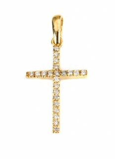 Simple Elegant Diamond Pendant Cross 14k Yellow Gold Genuine Round Cut