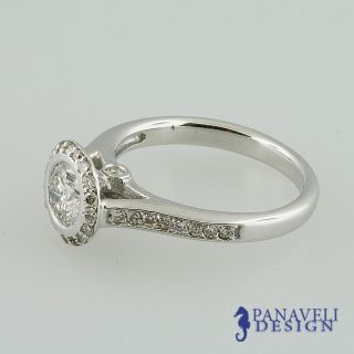 00 ct Round Diamond Bezel Set Engagement Ring 14k White Gold