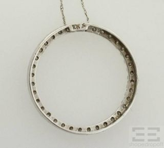 Designer 10K White Gold Diamond Circle Pendant Necklace