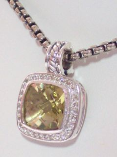 David Yurman 11mm Lemon Citrine Diamond Enhancer Pendant