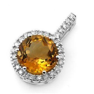 Fine Orange Citrine Diamonds Pendant Necklace 14k White Gold