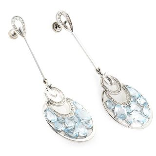Exotic 14k White Gold Diamond Aquamarine Drop Earrings