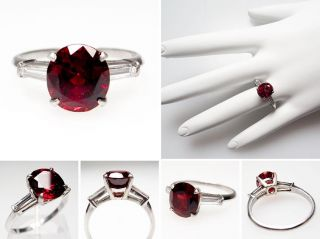 Estate Natural Red Spinel & Diamond Engagement Ring Solid Platinum