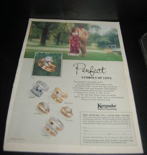 VINTAGE 70s KEEPSAKE DIAMOND RINGS AD BAND WEDDING JEWELRY GOLD COUPLE