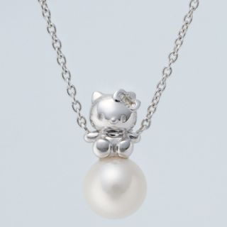 Sanrio Hello Kitty Pearl Diamond Kitty Pendant Necklace Accessory